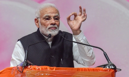 Modi speaks about grand alliance against BJP